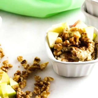 Apple Walnut Oatmeal in a white bowl