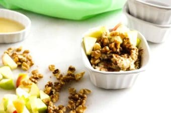 Apple Walnut Oatmeal in a white bowl