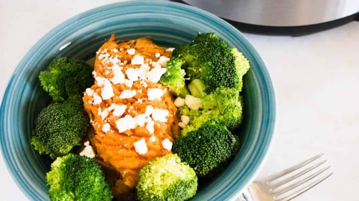 sweet potatoes with broccoli on blue plate