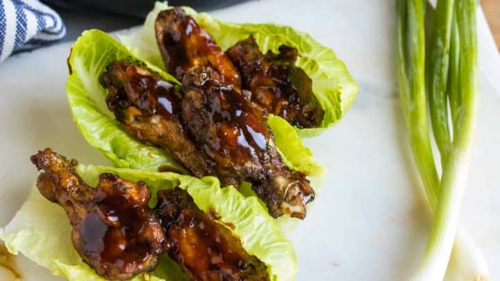 chicken wings on lettuce