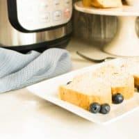 instant pot pound cake slices on white plate