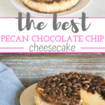 pecan chocolate chip cheesecake on white plate