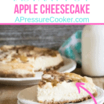 apple cheesecake on white plate