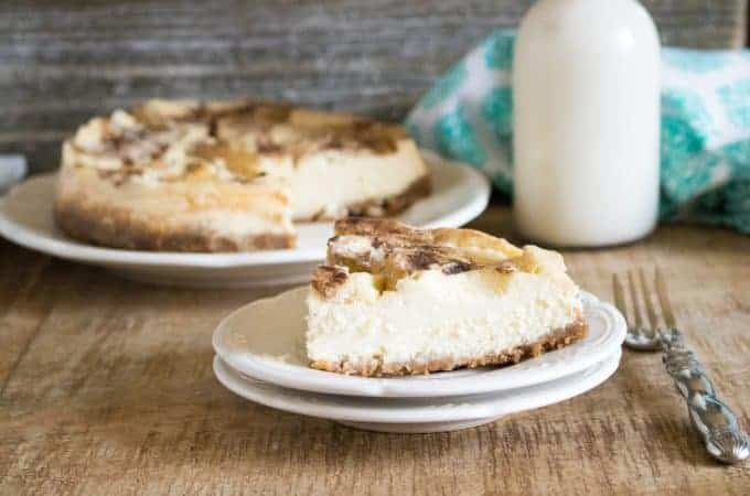 apple cheesecake on white plates