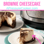 brownie bottom cheesecake on white plate