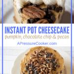 slice of pumpkin chocolate chip cheesecake on white plate
