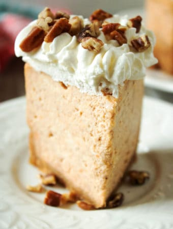 sweet potato cheesecake on white plate