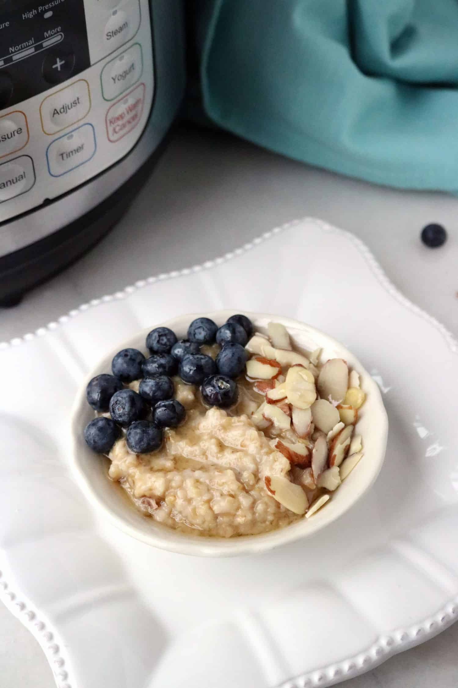 steel cut oatmeal in bowl with blueberries and almonds