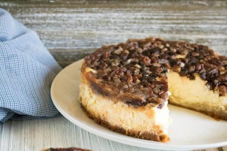 pecan cheesecake on white plate