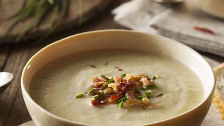 leek soup in bowl