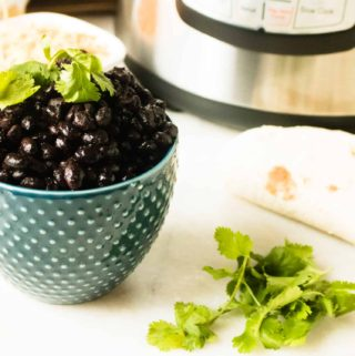 black beans in blue bowl topped with cilantro