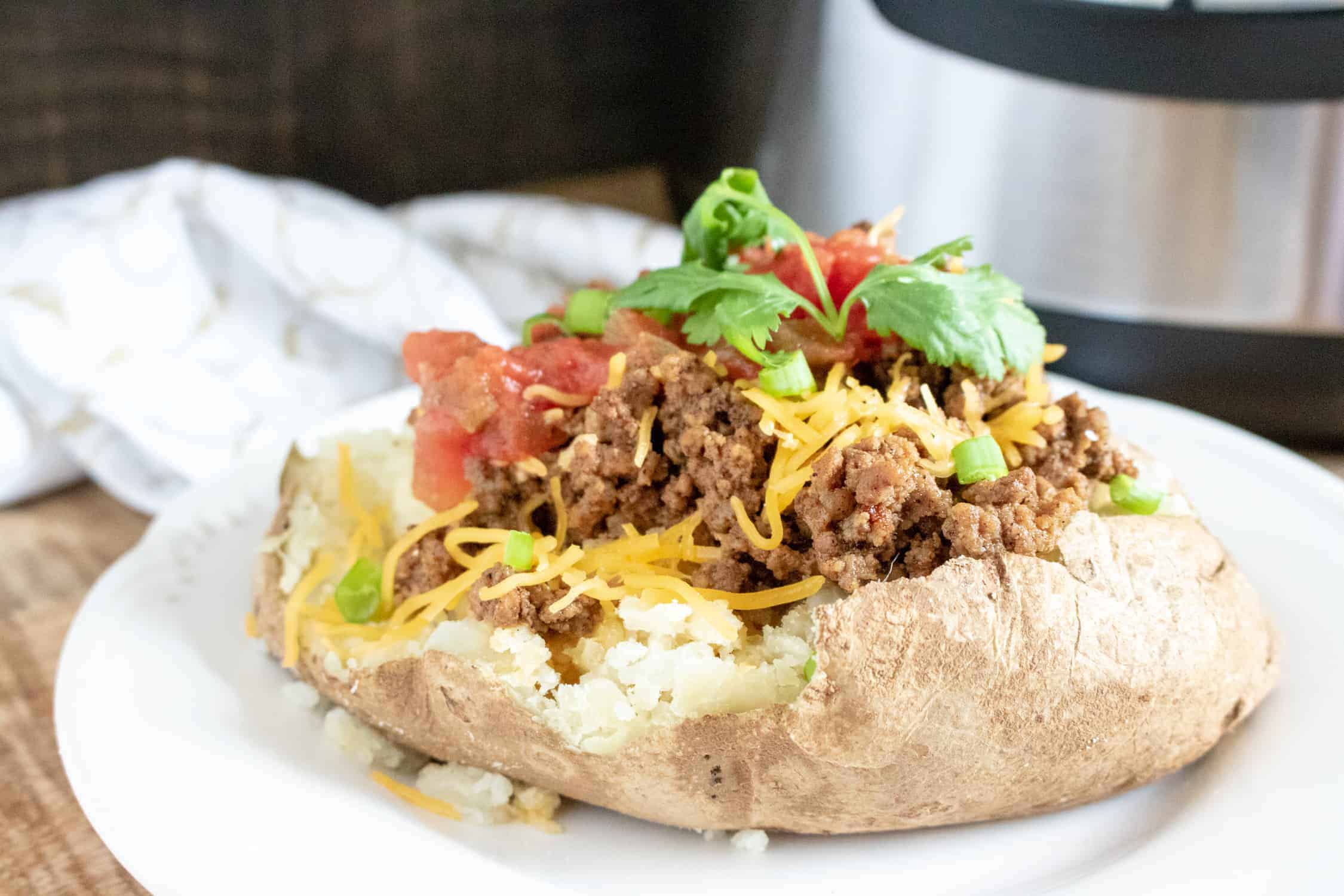instant pot taco meat on baked potato
