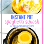 half spaghetti squash topped with tomatoes and spahetti squash in instant pot