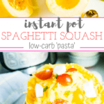 half spaghetti squash topped with tomatoes