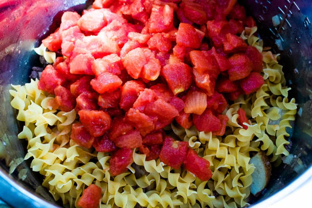 diced tomatoes and dry noodles for instant pot goulash