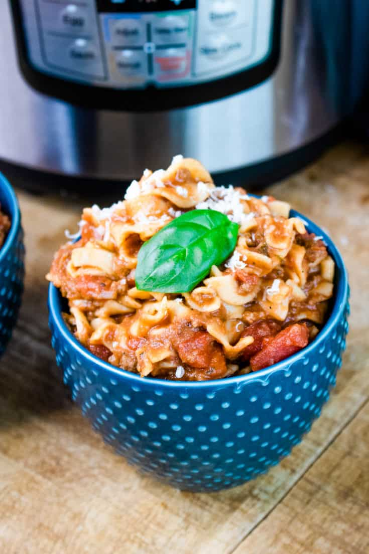 instant pot goulash in blue bowl