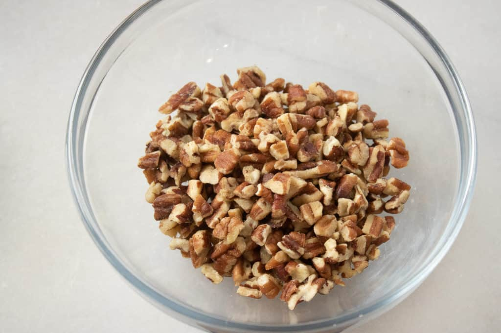 Mix the ingredients for the Pecan Pie filling