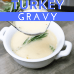 turkey gravy in white bowl