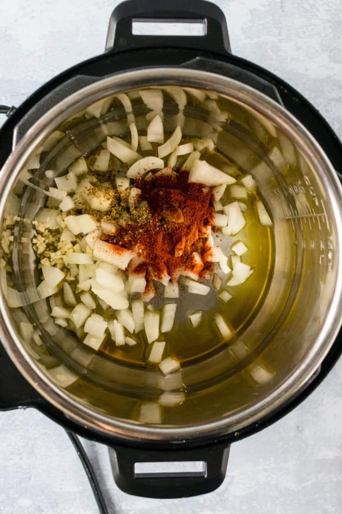 saute onions and seasonings
