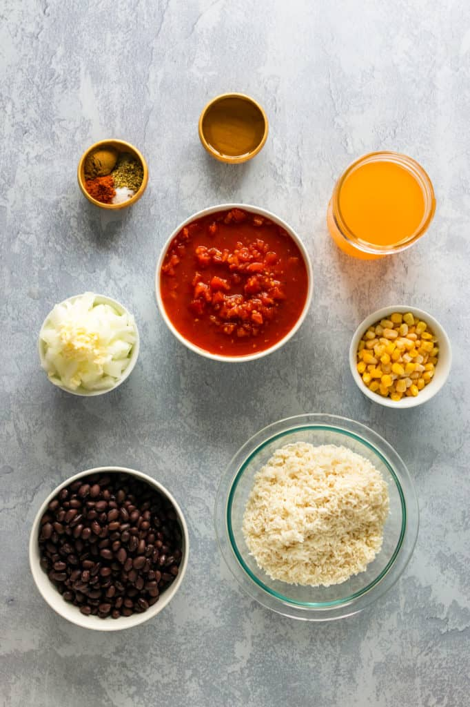 rice and beans ingredients