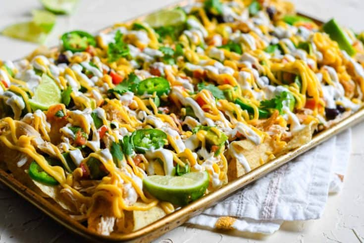 Instant Pot Chicken Nachos with Homemade Queso and Fresh Avocado Salad