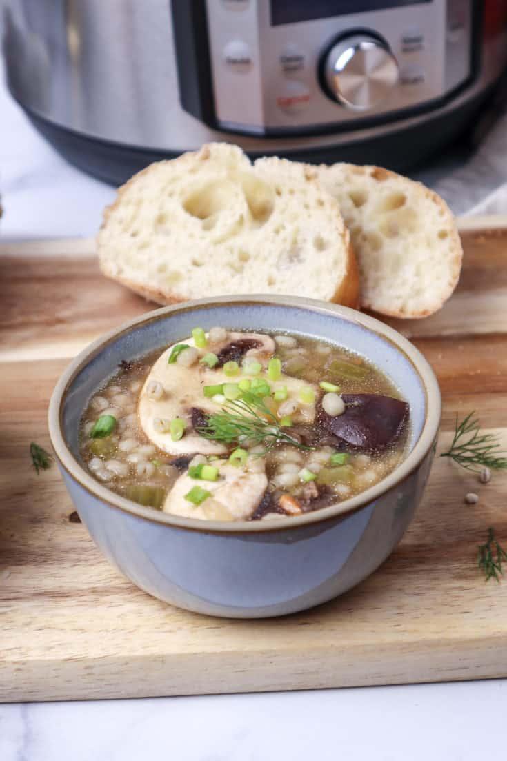 Instant Pot Mushroom Barley Soup Recipe