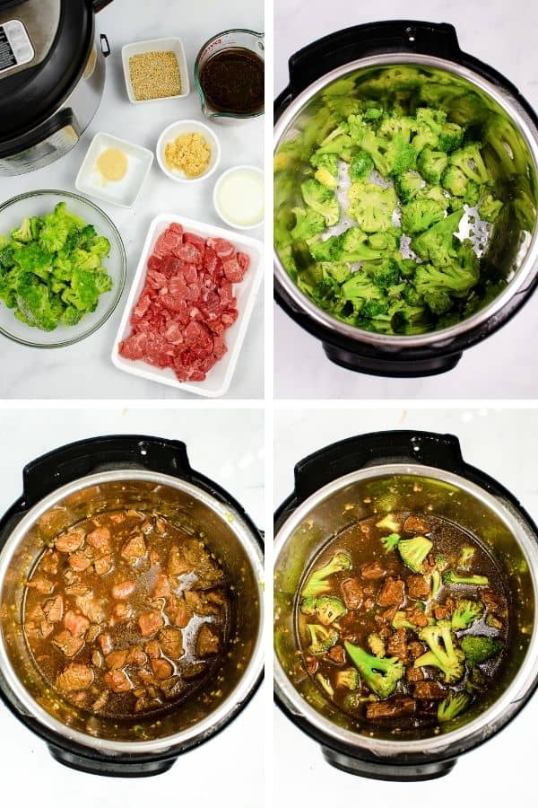 beef and broccoli in process cooking steps collage