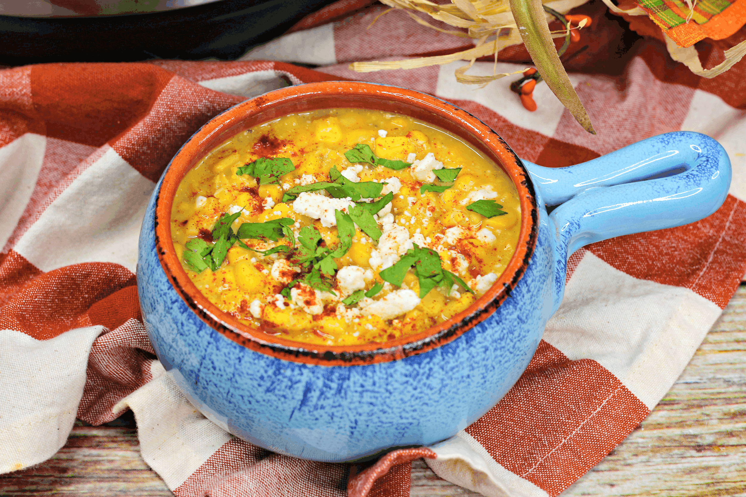 corn chowder recipe in blue bowl