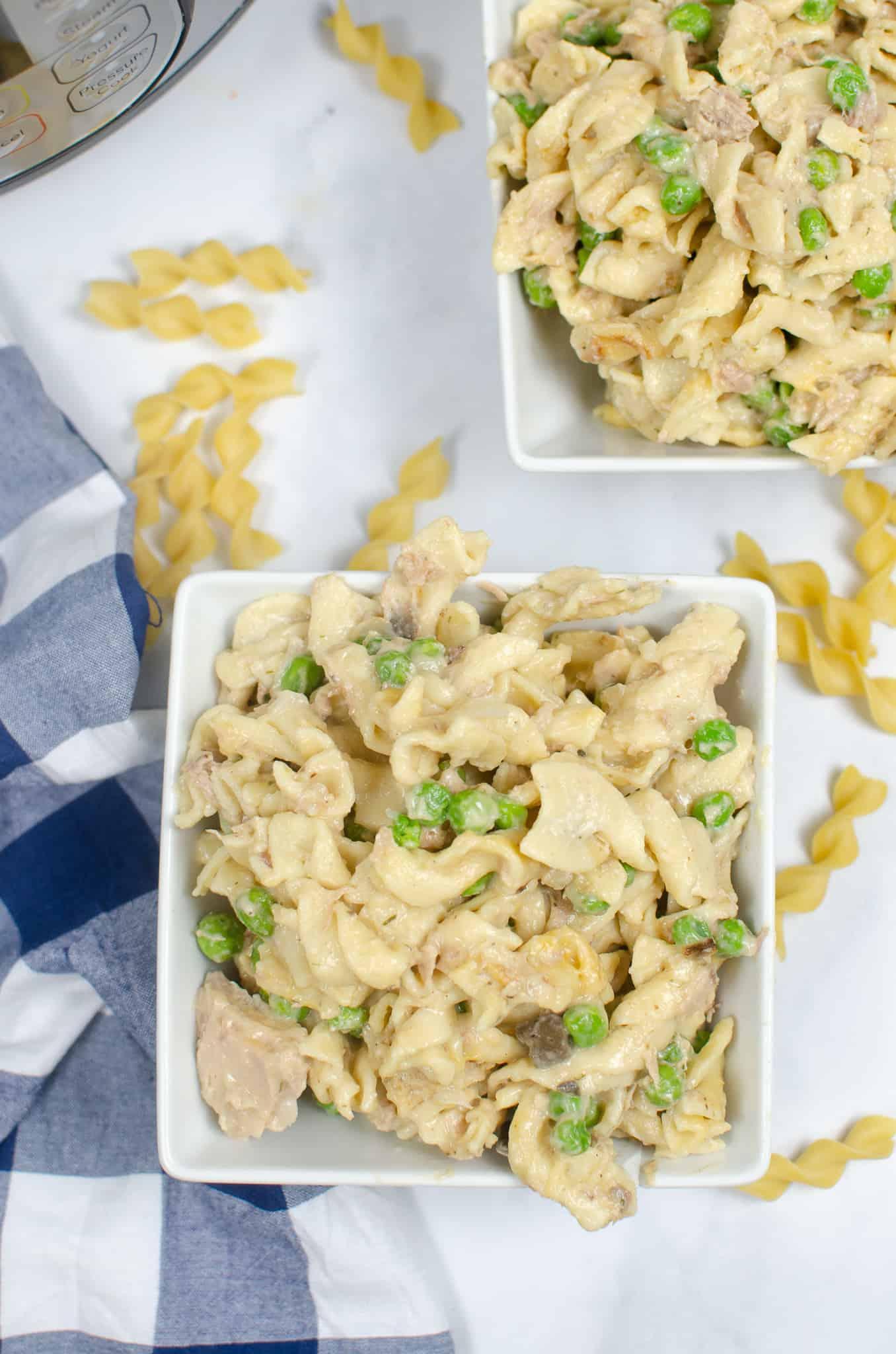 tuna noodle casserole in white bowl