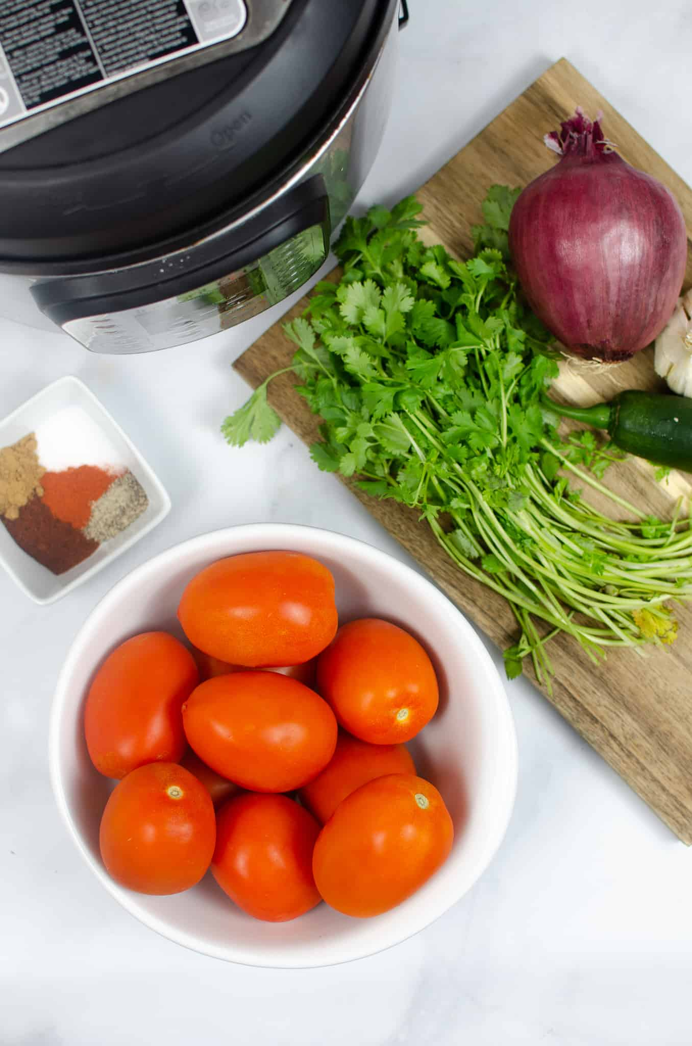 homemade salsa recipe ingredients on counter