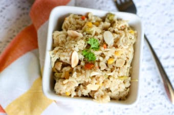 Instant Pot Chicken and Rice in white bowl
