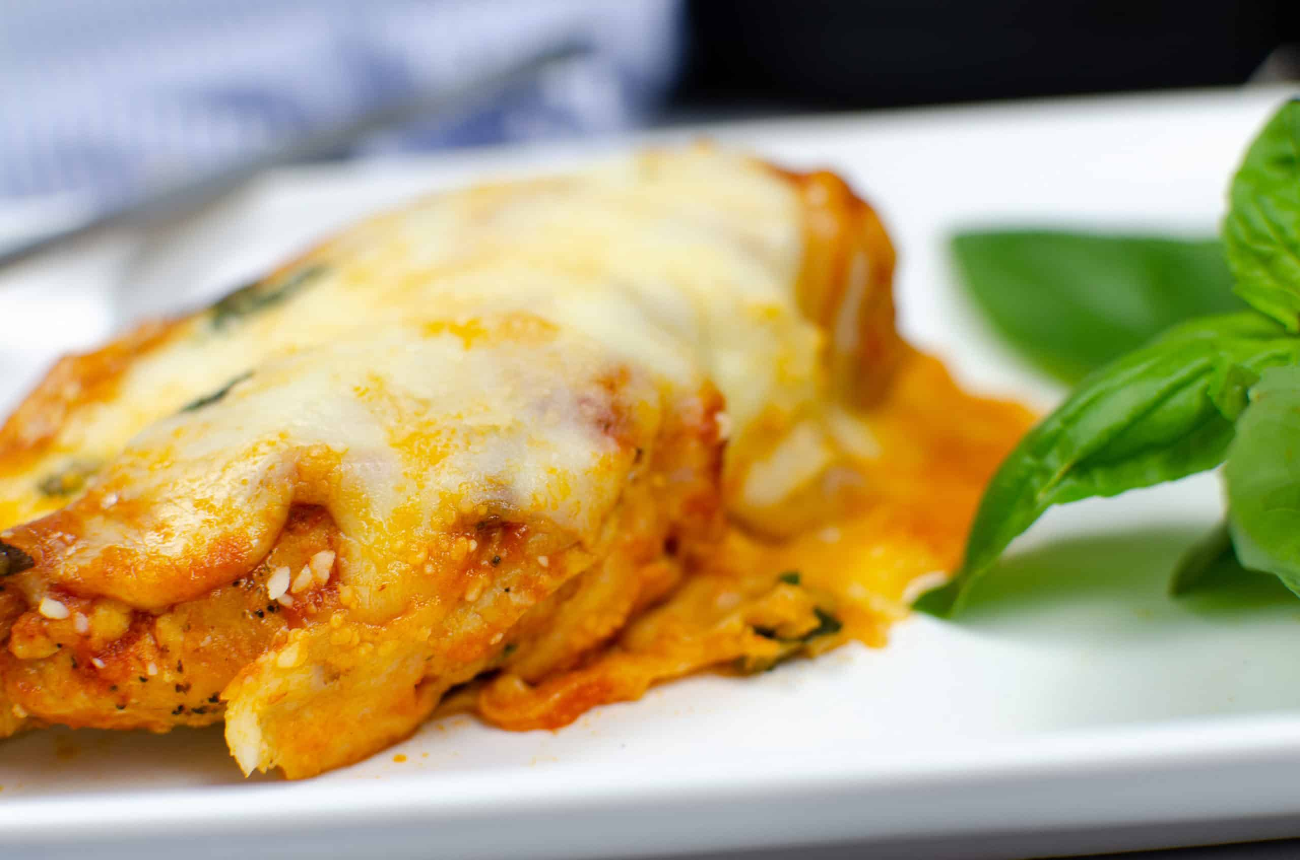 chicken parmesan on white plate