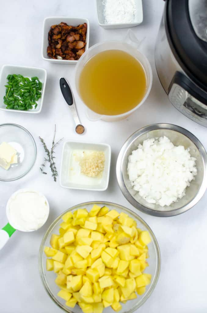 Instant Pot Potato Soup ingredients in ingredient bowls on white counter