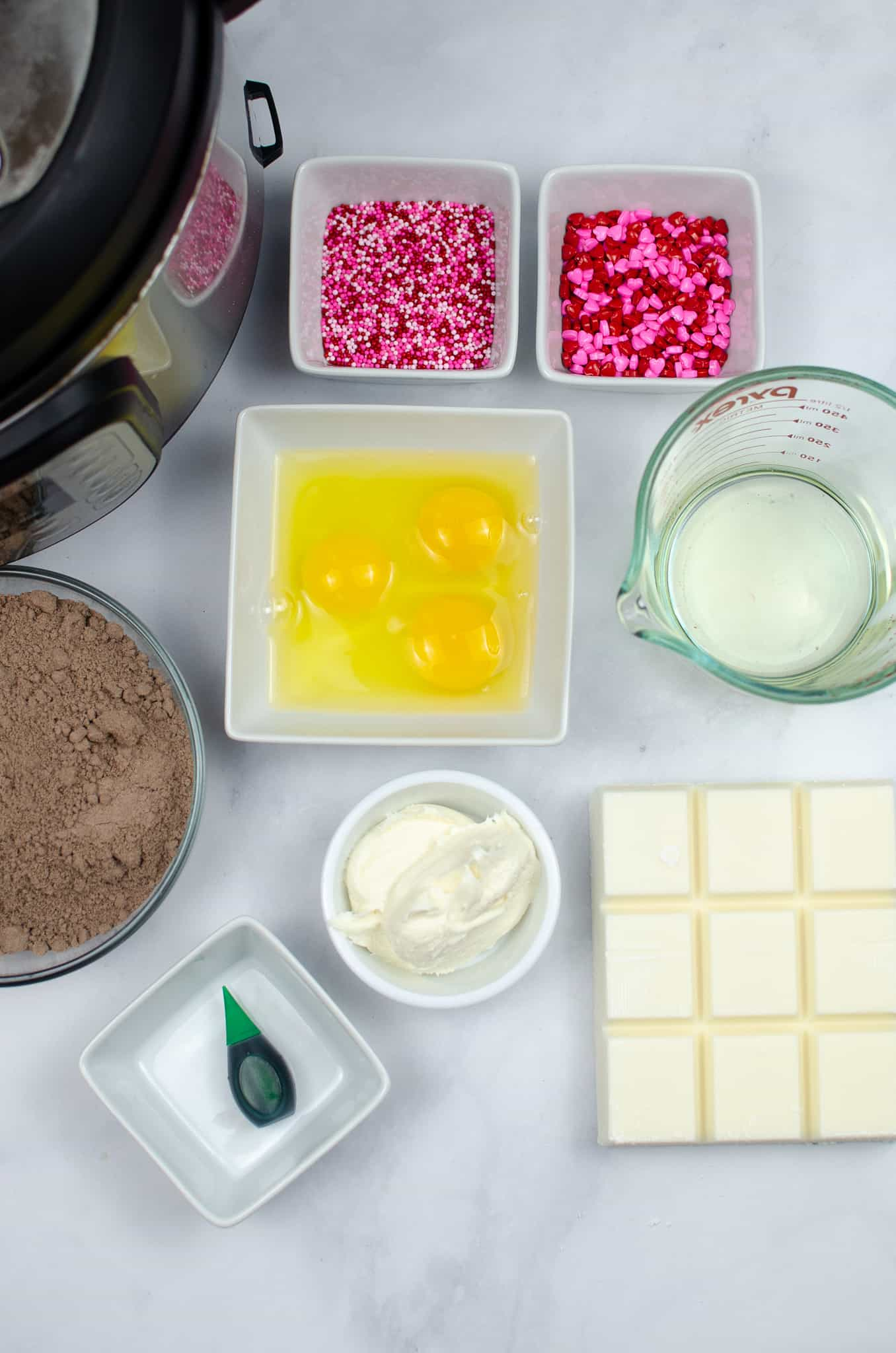 ingredients for cake pops christmas truffles in ingredient bowls