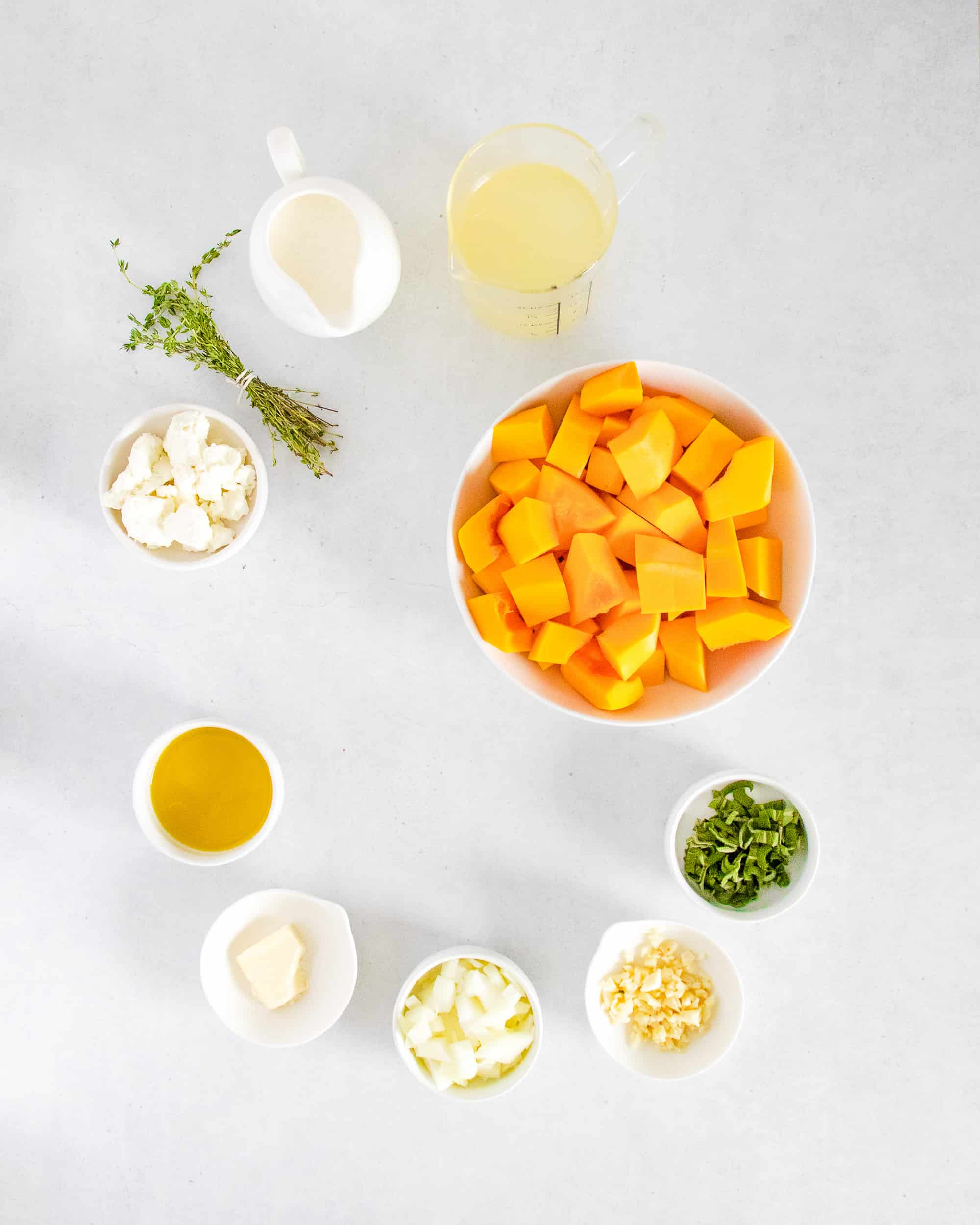 Instant Pot Butternut Squash Soup ingredients in bowls