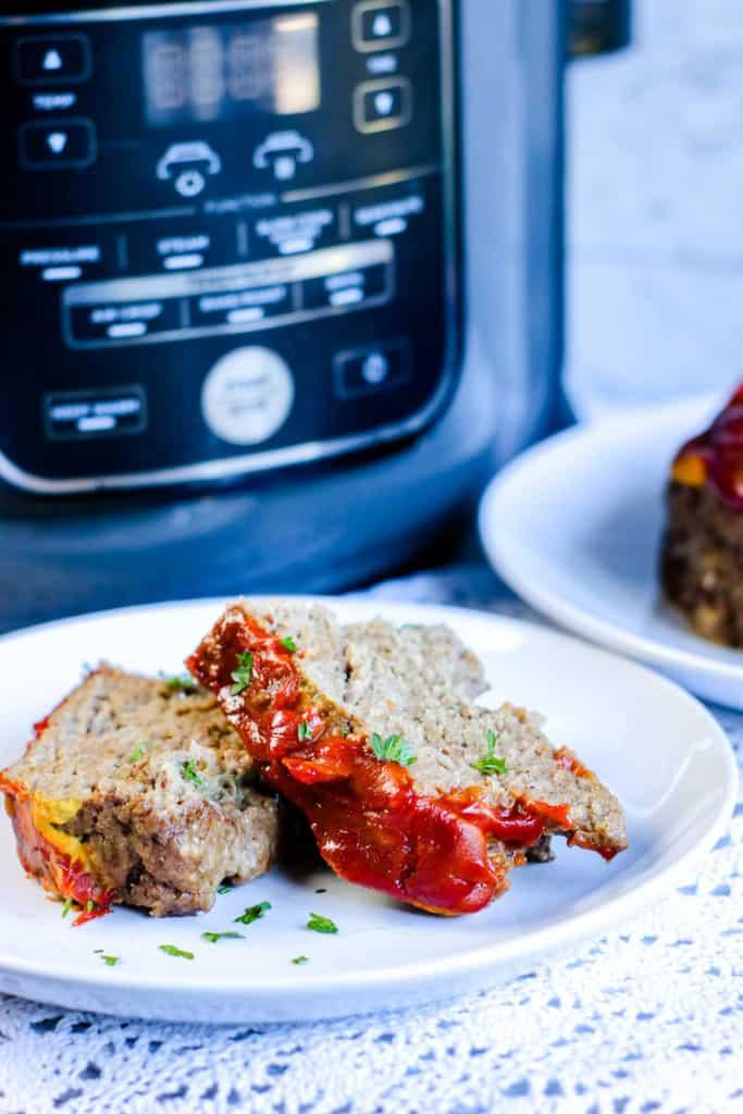 ninja foodi meatloaf recipe sliced and served on white plate