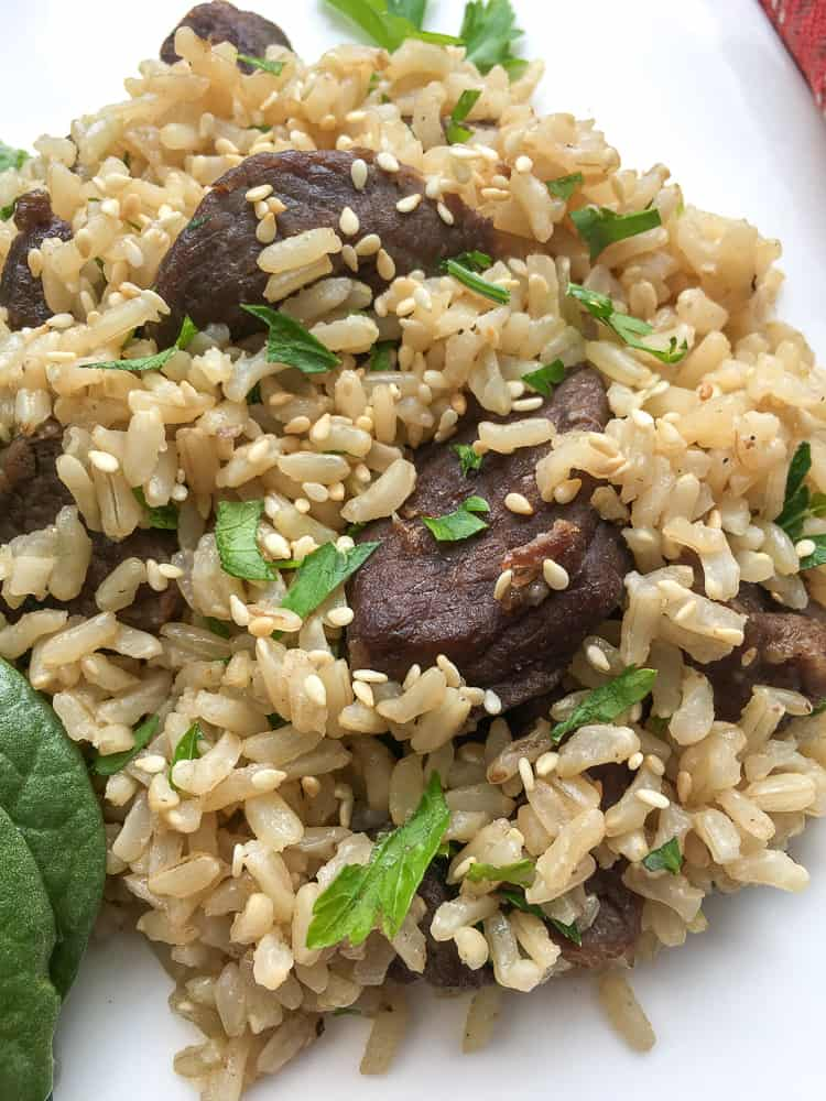 Instant Pot Beef and Rice on white plate