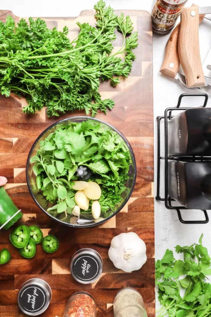 cilantro parsley chimichurri in food processor
