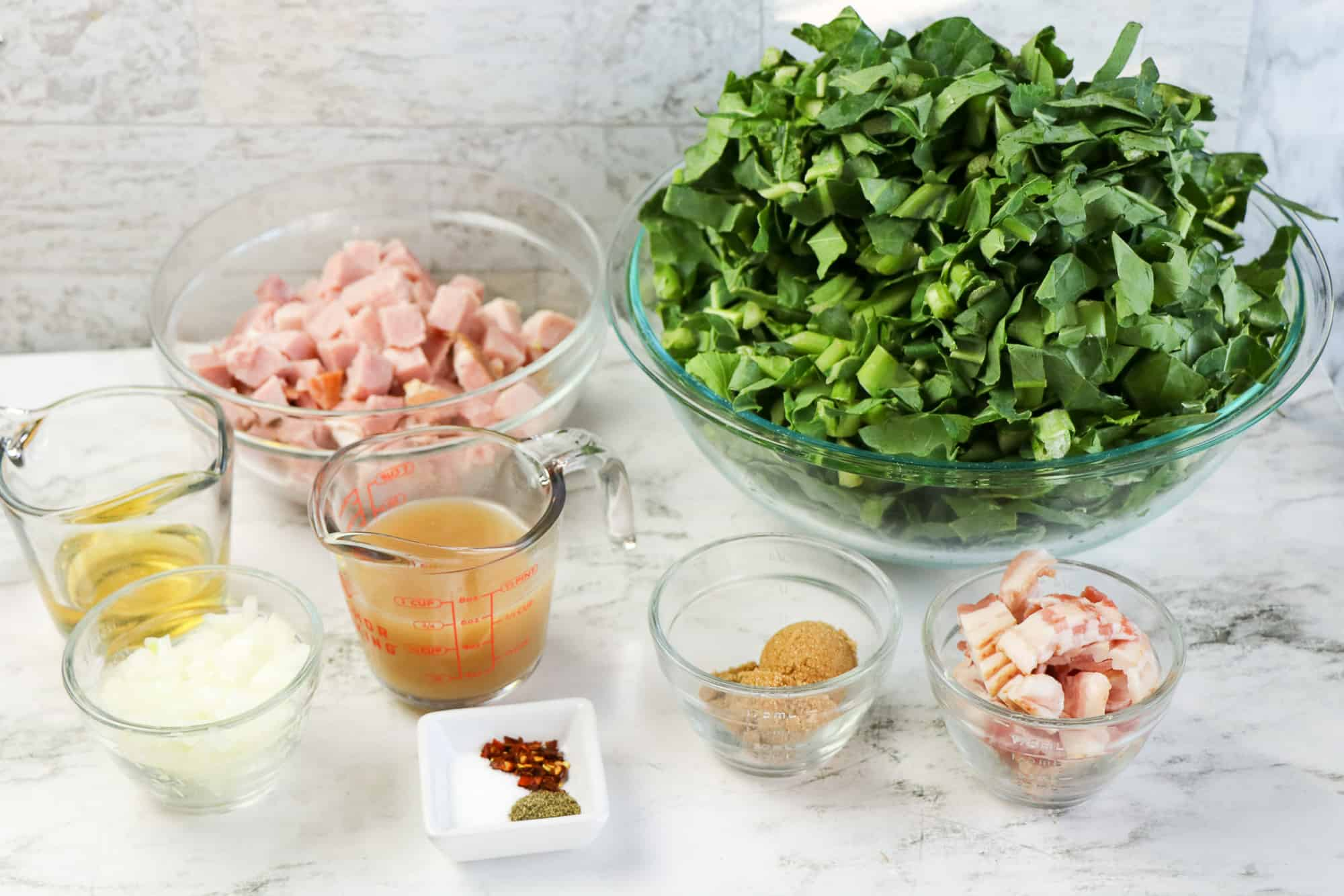 ingredients for collard greens in ingredient bowls