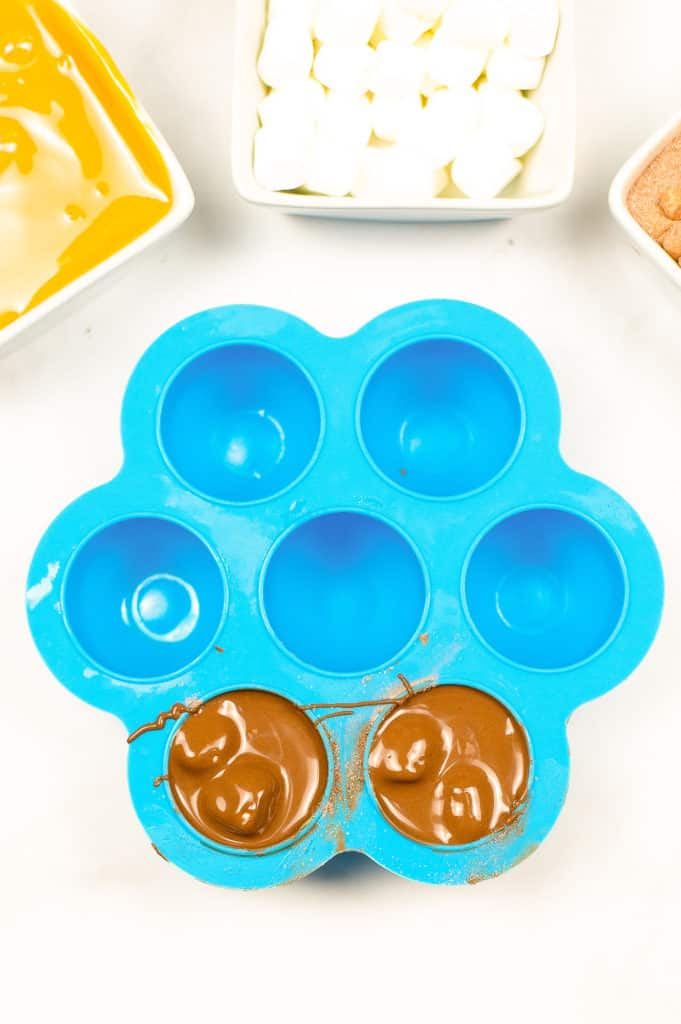 chocolate in blue silicone egg bites mold
