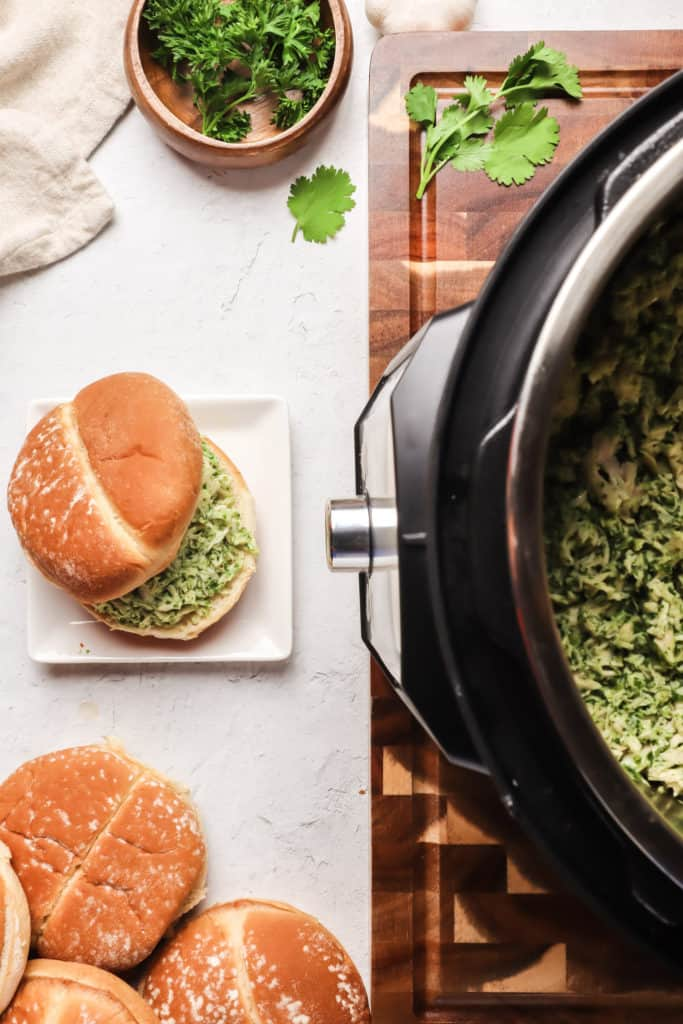 chicken chimichurri sandwiches on counter with Instant Pot