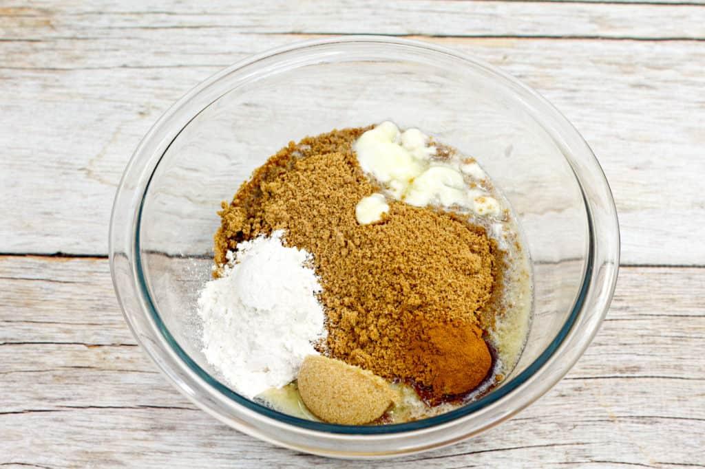 graham cracker crust ingredients in bowl
