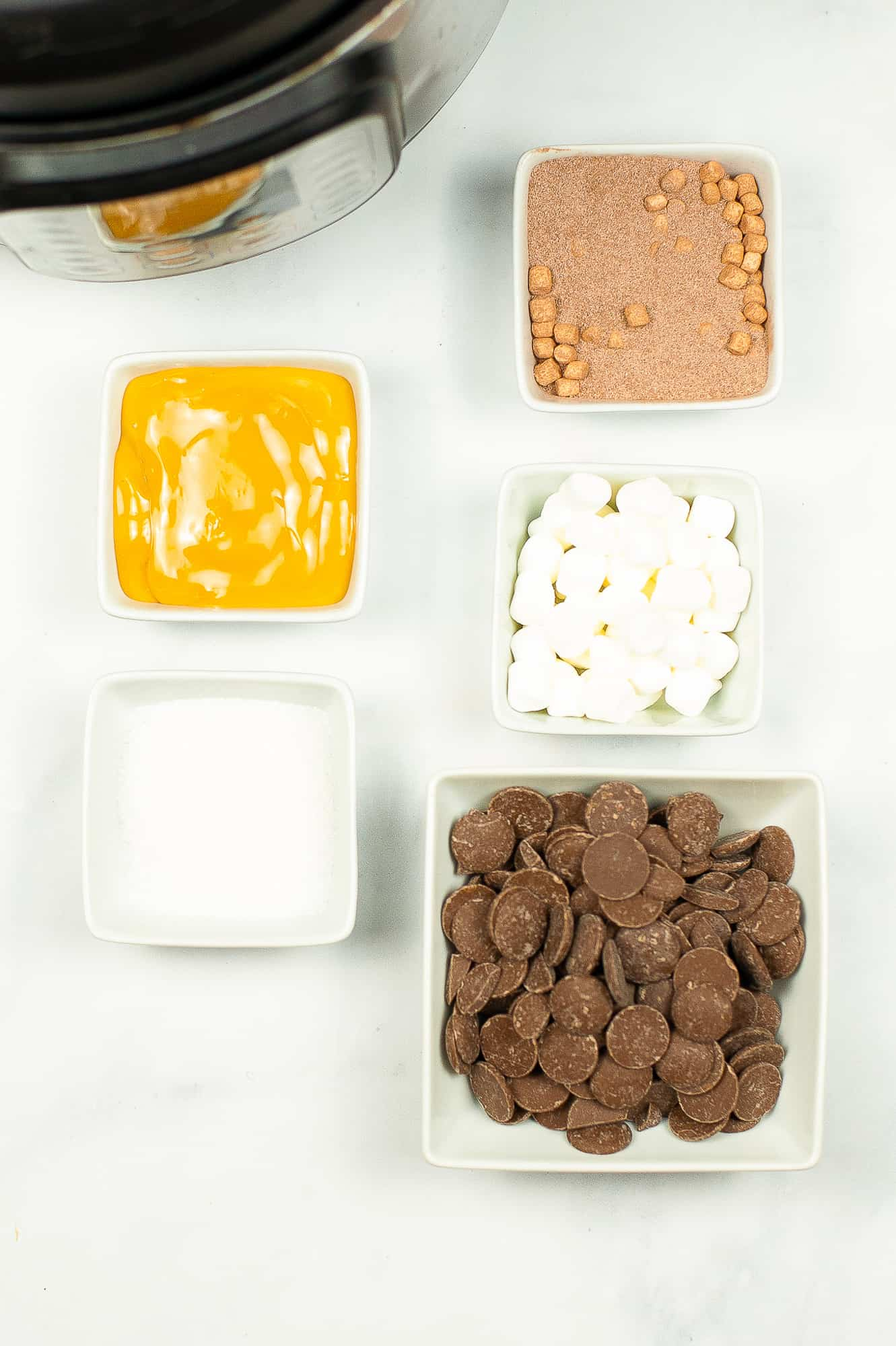 ingredients for salted caramel hot chocolate bombs