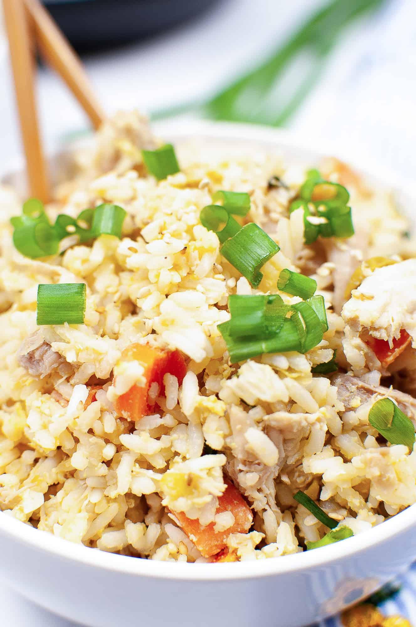 panda express fried rice in white bowl