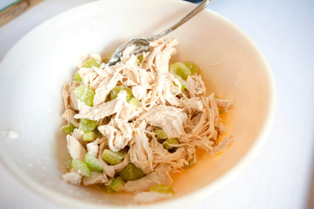chicken salad in mixing bowl