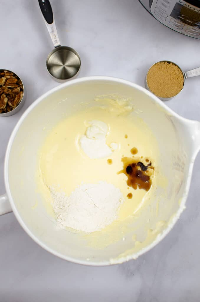 cheesecake ingredients in bowl