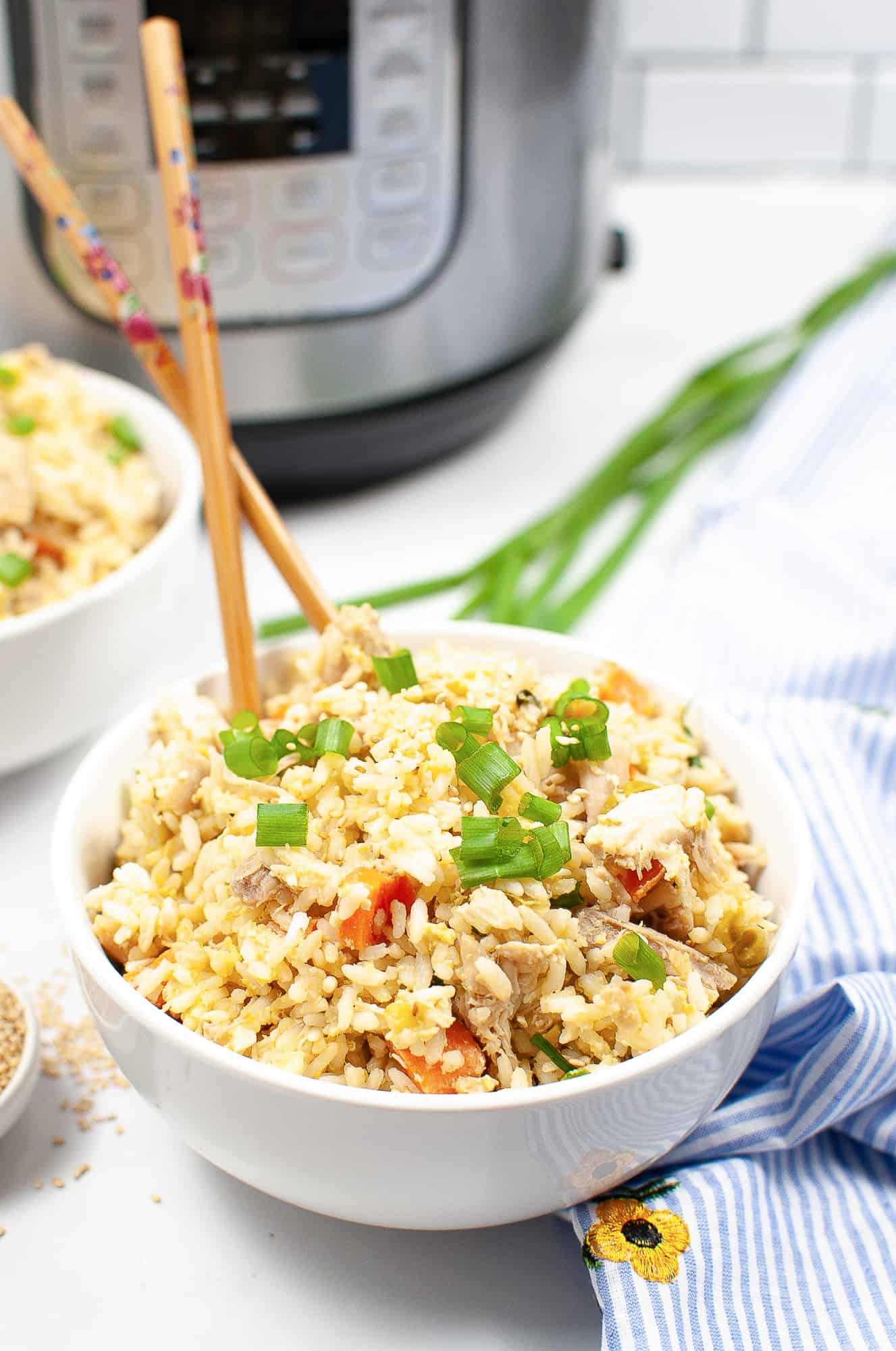 fried rice in white bowl