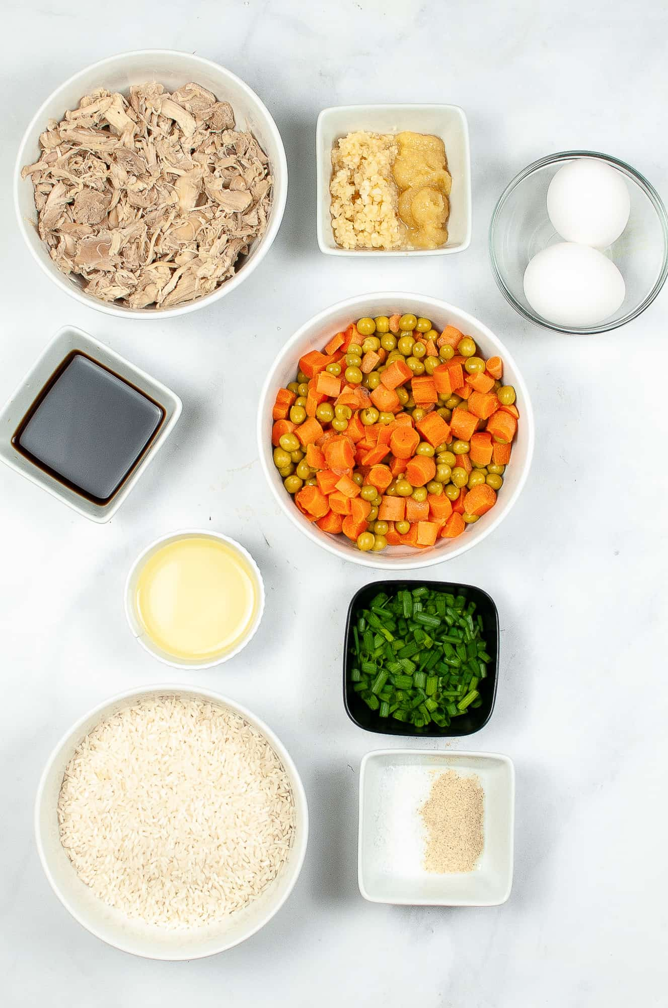 ingredients for fried rice in ingredient bowls