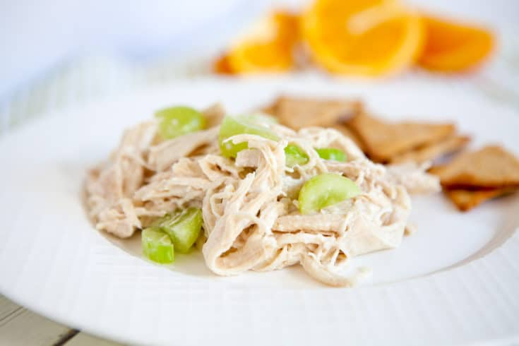 chicken salad with grapes on white plate