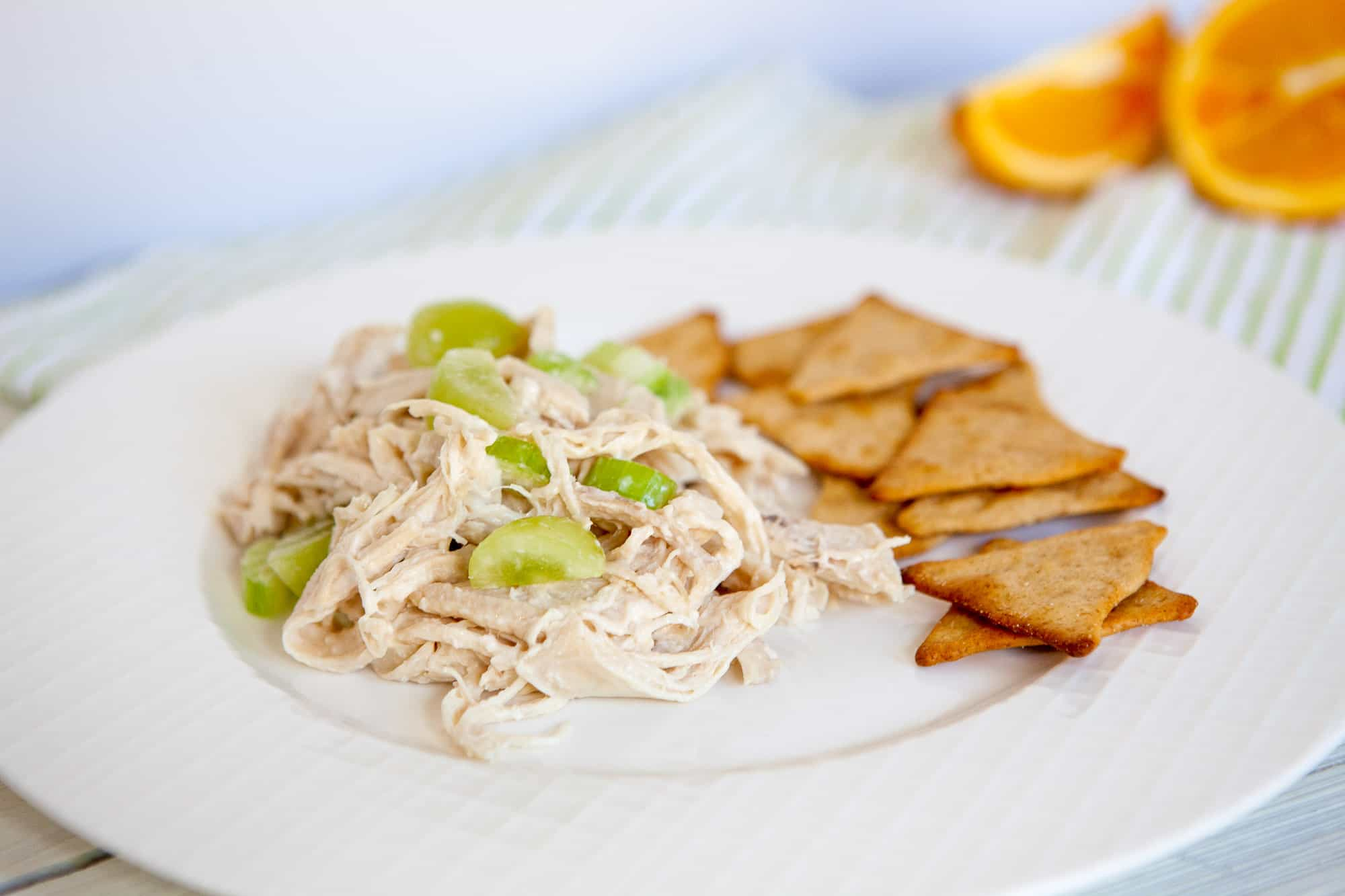 weight watchers chicken salad with crackers on white plate